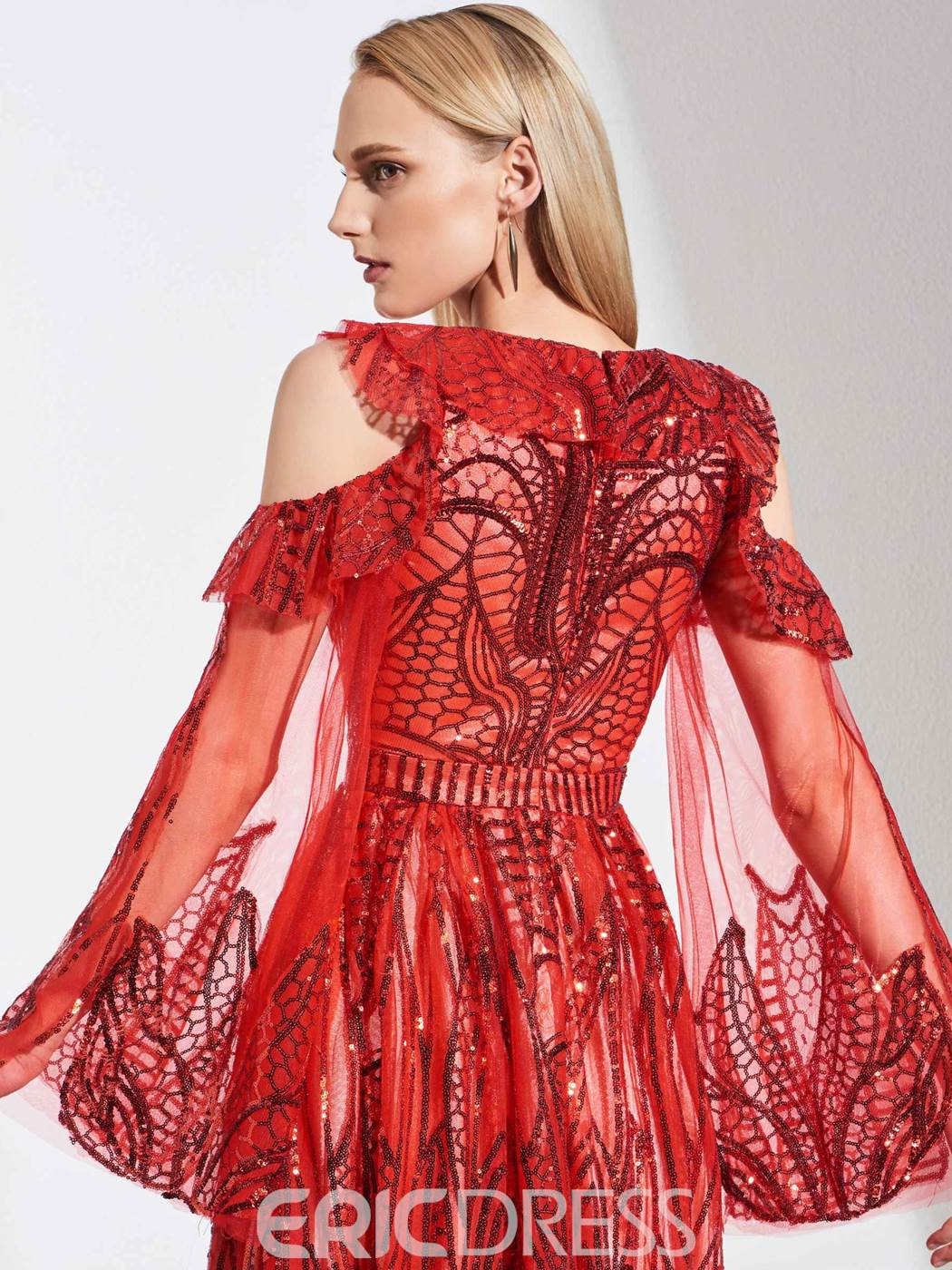 Ericdress Long Sleeve Sequins Red Evening Dress
