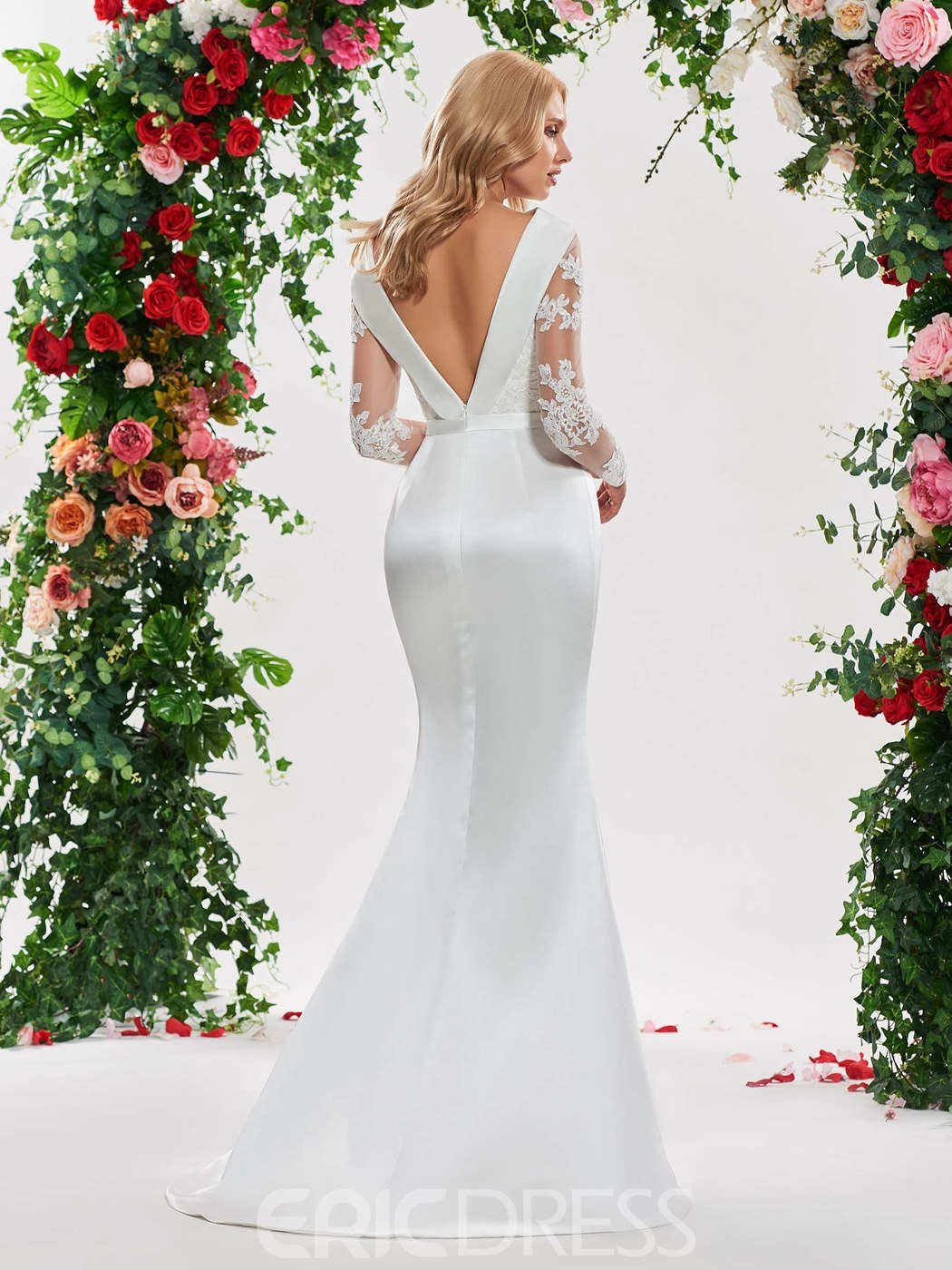 Ericdress Appliques Long Sleeves Low Back Wedding Dress