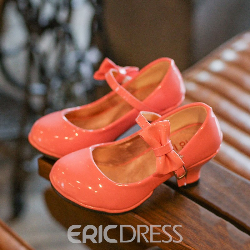 Ericdress PU Bow Chunky Heel Kids Shoes