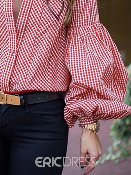 Ericdress Gingham Button-Down Puff Plaid Blouse