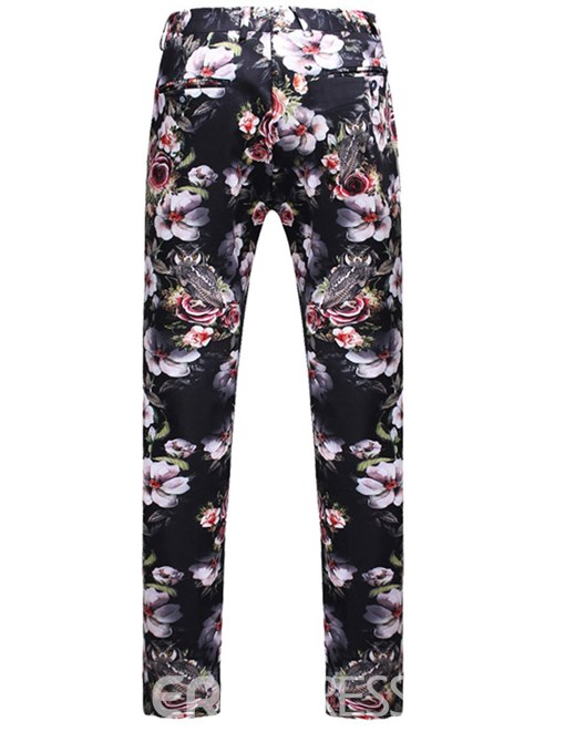 Ericdress Floral Print 3 Pieces Mens Casual Ball Suits