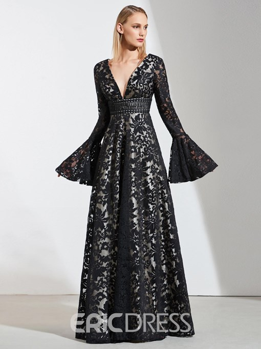 Ericdress Deep V Neck Black Lace Long Sleeve Evening Dress