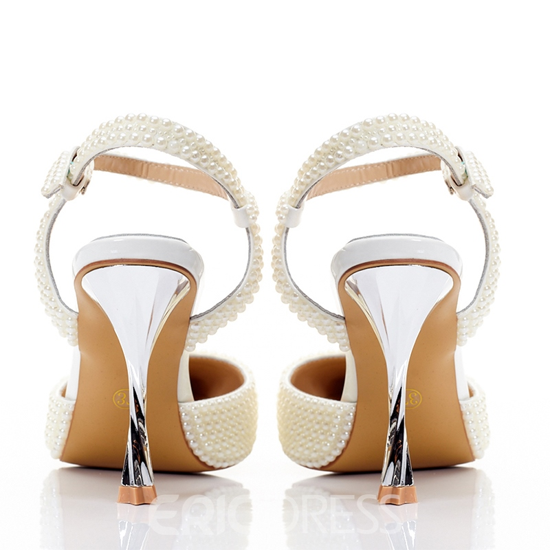 Ericdress Beads Ankle Strap Stiletto Heel Wedding Shoes
