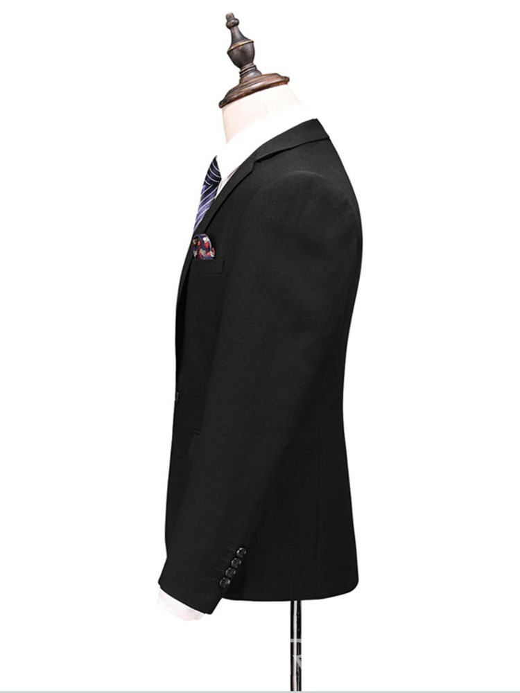 Ericdress Black Plain One Button Mens 3 Pieces Casual Business Dress
