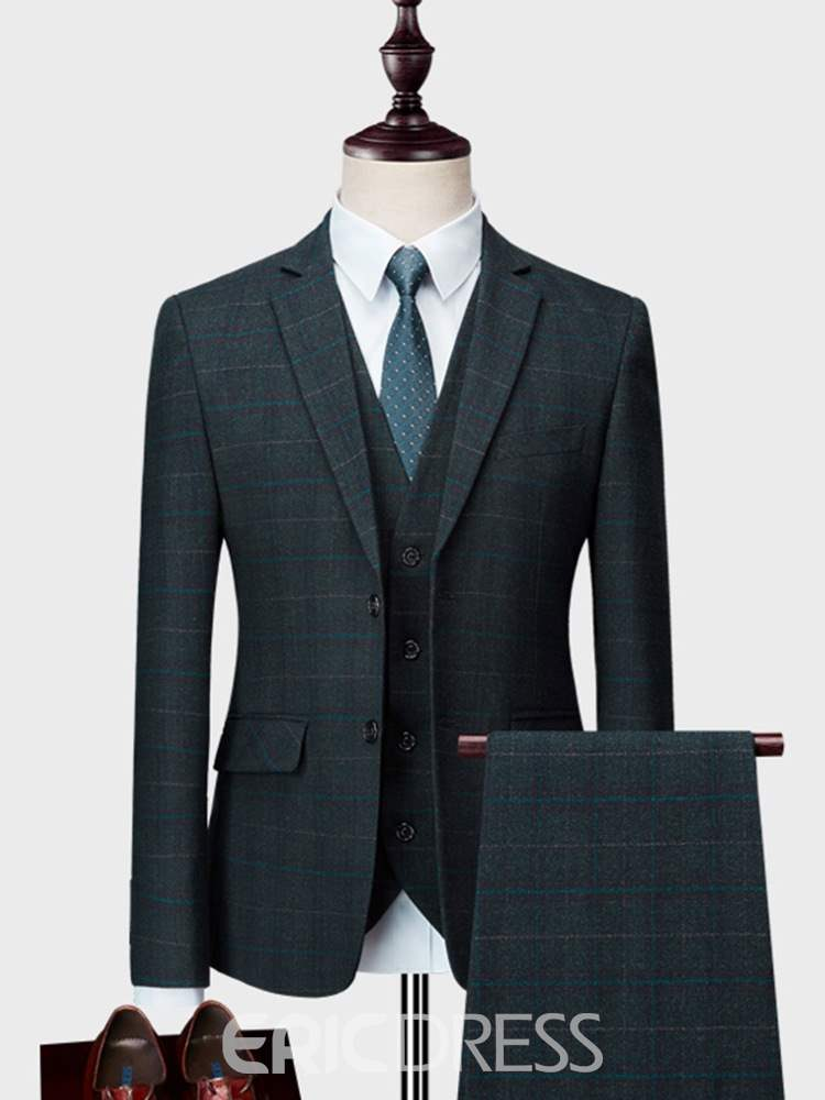 Ericdress Plaid 3 Pieces Mens Tuxedo Casual Suits
