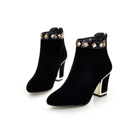 Ericdress Rivet Back Zip Chunky Heel Women's Ankle Boots