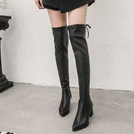 Ericdress Pointed Toe Chunky Heel Knee High Boots