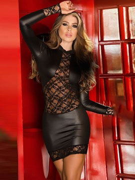 Ericdress Lace Hollow Long Sleeve Patent Leather Chemise
