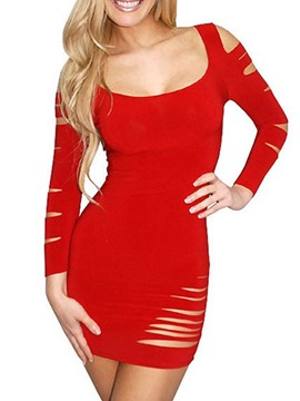 Ericdress Milk Silk Scoop Break Long Sleeve Sexy Tight Short Dress