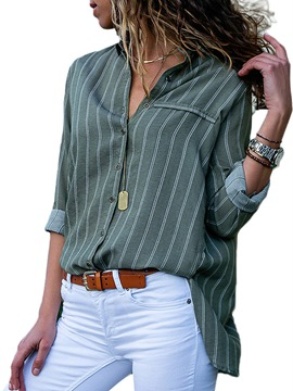 Ericdress Stripe Casual Button Loose Long Sleeve Blouse