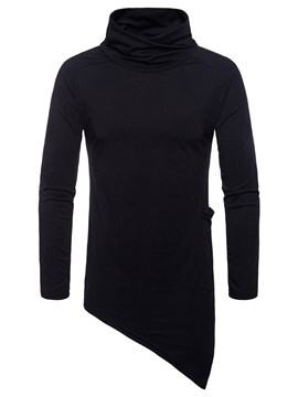 Ericdress Plain Asymmetric Heao Collar Pullover Mens Casual Sweatshirts