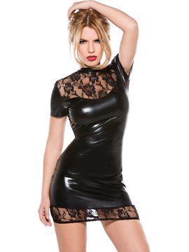 Ericdress Patent Leather Lace Short Sleeve Sexy Tight Short Dress