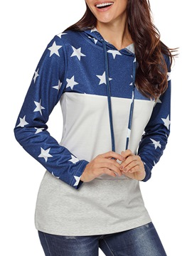 Ericdress Patchwork Print Color Block Star Cool Hoodie