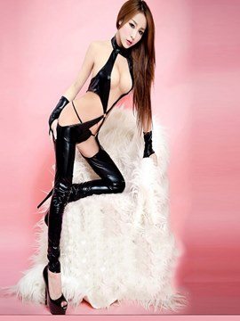 Ericdress Halter Hollow Sexy Patent Leather Teddy with Gloves Thong