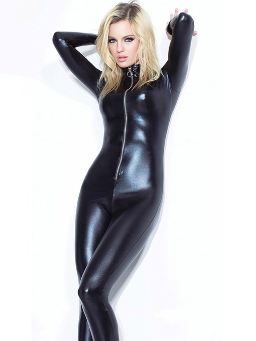 Ericdress Plain Long Sleeve Zipper Patent Leather Teddy