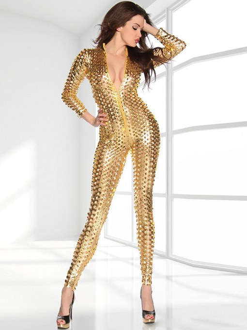 Ericdress Tight Hollow Zipper Patent Leather Teddy Clubwear
