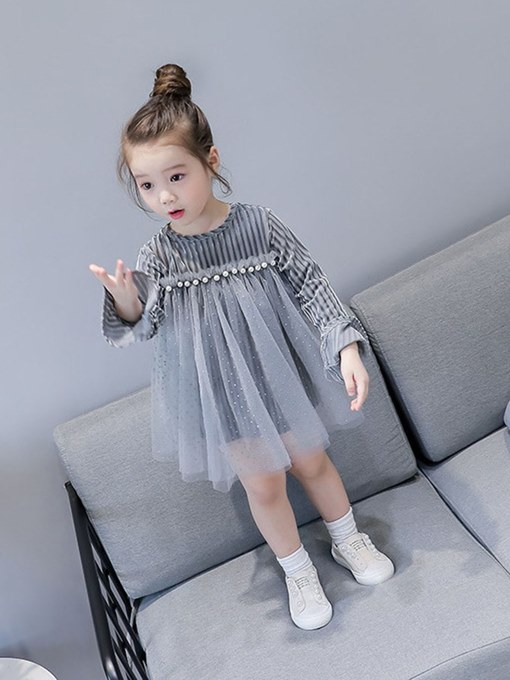 Ericdress Pleated Mesh Bead Flare Sleeve Girl's Casual Ball Gown Dress