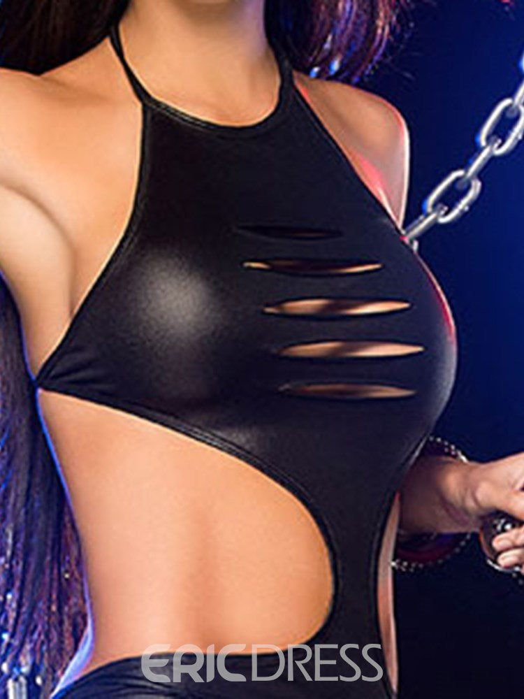 Ericdress Backless Shredded Sexy Patent Leather Teddy