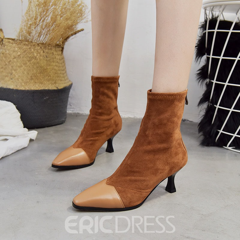 Ericdress Patchwork Pointed Toe Kitten Heel Ankle Boots