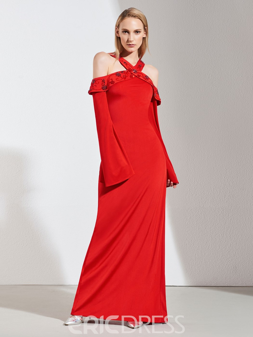 Ericdress Sheath Beaded Halter Red Evening Dress