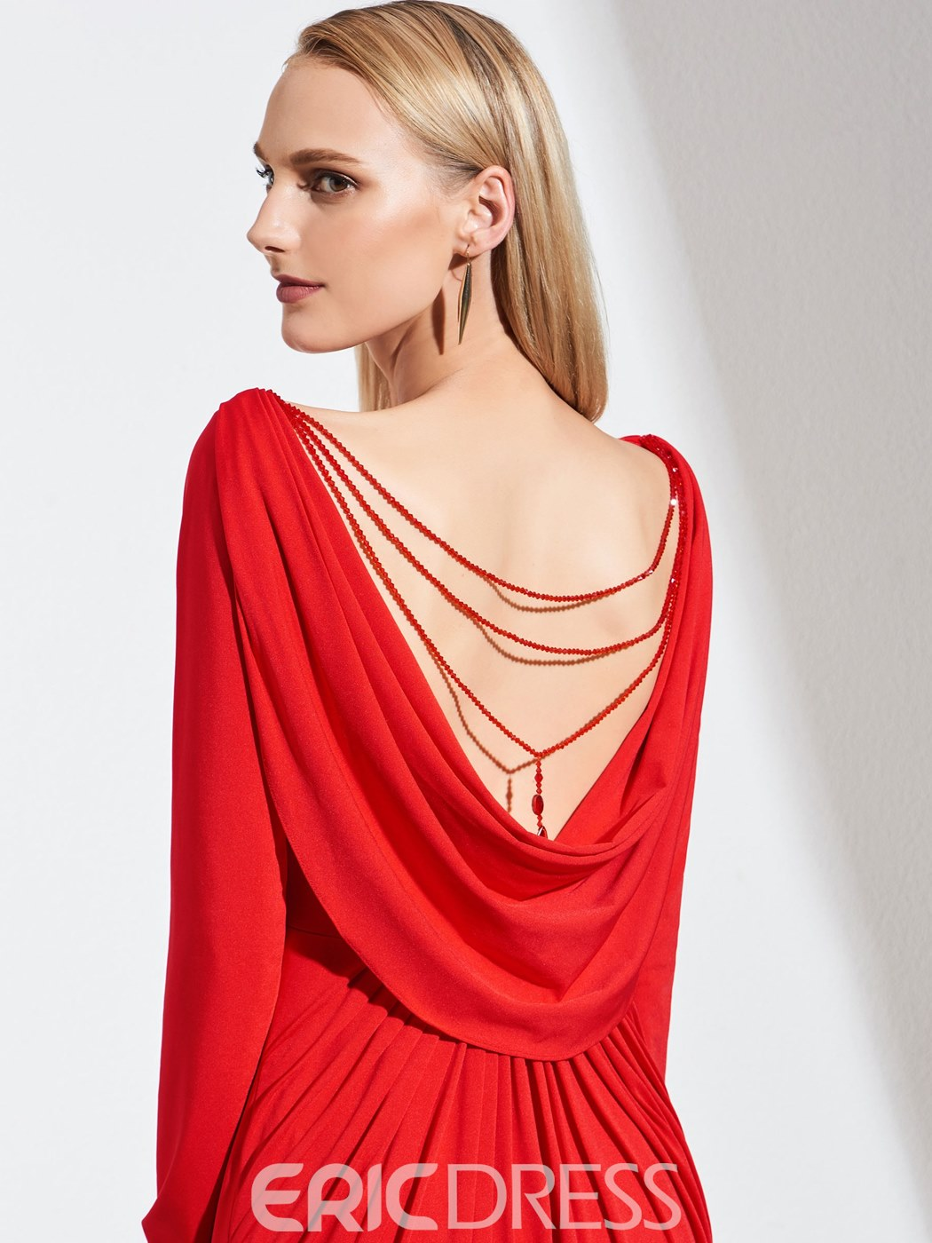 Ericdress Sheath Long Sleeve Red Evening Dress With Drapped Back