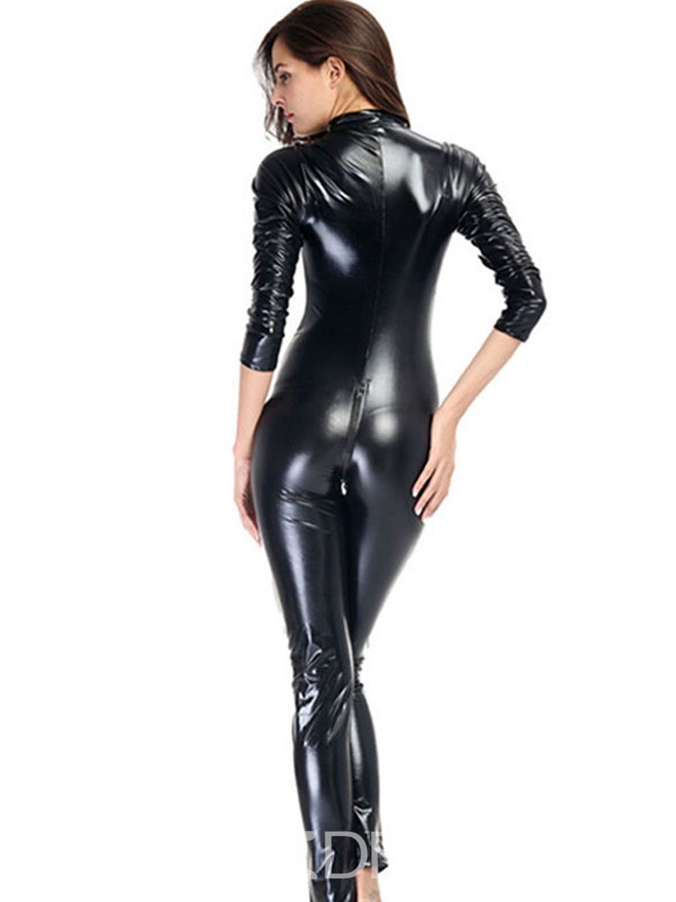 Ericdress Zipper Long Sleeve Patent Leather Teddy