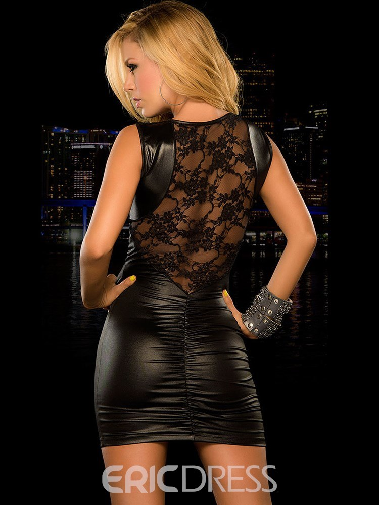 Ericdress Sleeveless Hollow Shiny Leather Sexy Tight Short Dress