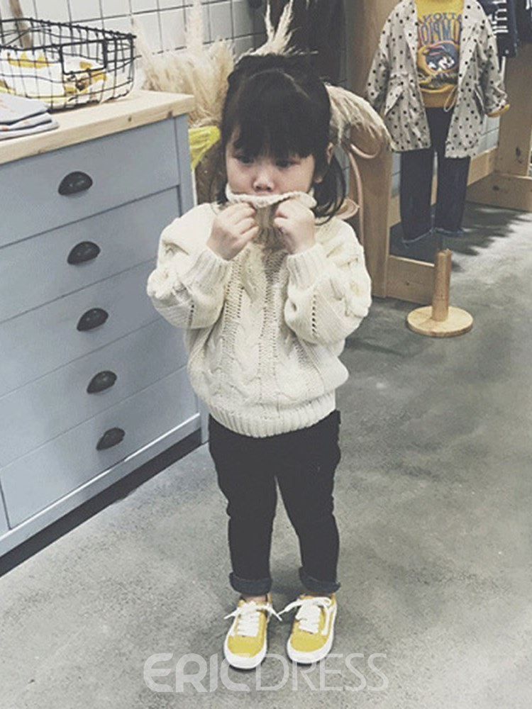 b5679bfabcd5 Ericdress Plain High Neck Thick Girl s Cable Sweaters 13393202 ...