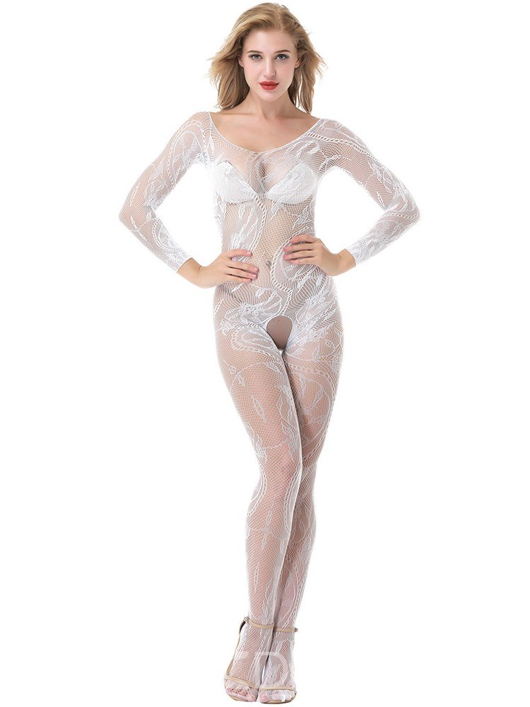 Ericdress Open Crotch Long Sleeve Sexy Fishnet Body Stocking
