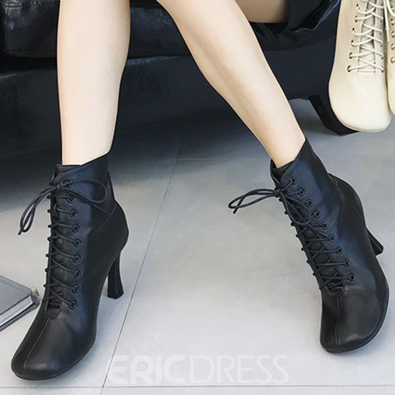 Ericdress Plain Back Zip Square Toe Chunky Heel Ankle Boots
