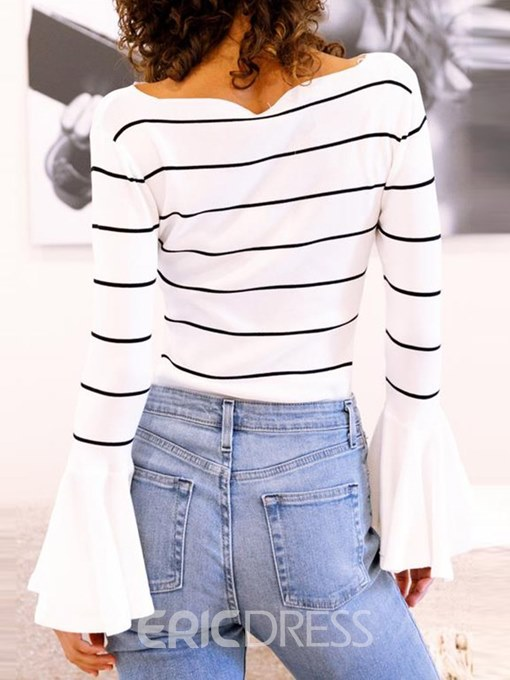 Ericdress Stripe Slim Flare Sleeve T-shirt