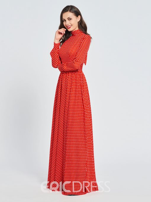 Ericdress A Line High Neck Long Sleeve Red Prom Dress