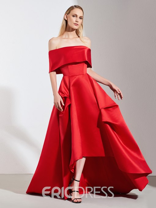 Ericdress A Line Off The Shoulder Asymmetry Red Prom Dress