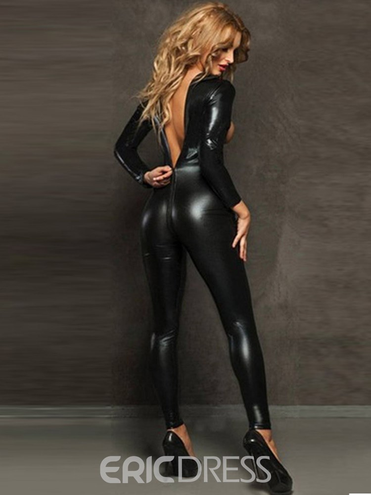 Ericdress Exposed Breast Long Sleeve Zipper Patent Leather Teddy