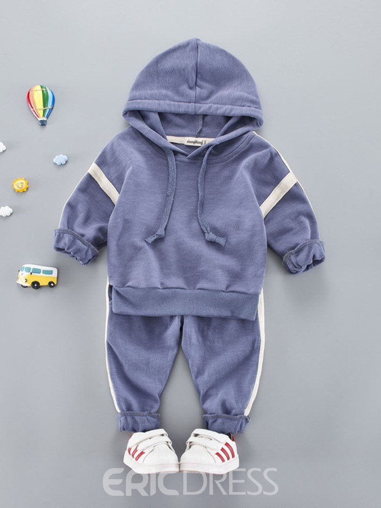 Ericdress Patchwork Lace Up Hoodies & Pants Baby Boy's Casual Outfits