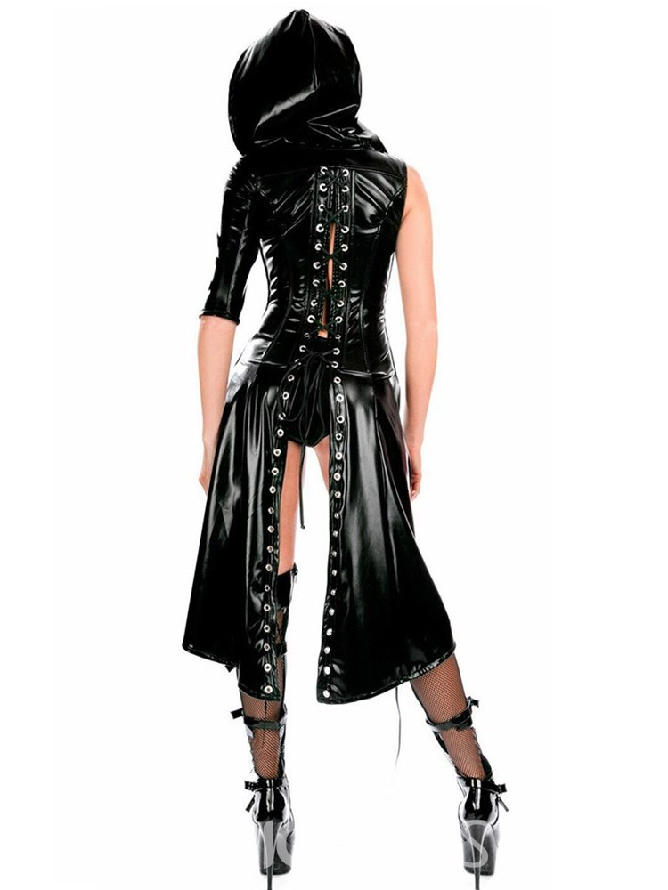 Ericdress Asymmetric Stringing Patent Leather Cloak