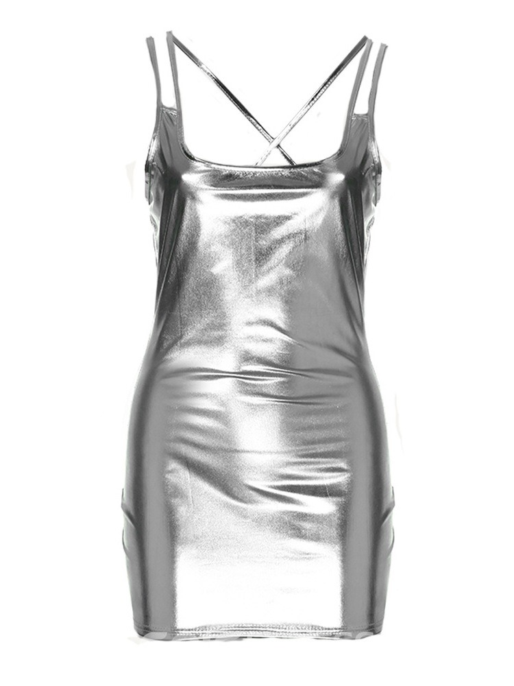 Ericdress Spaghetti Straps Sexy Patent Leather Tight Short Dress