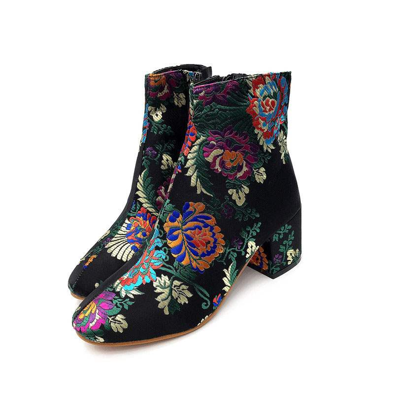 Ericdress Side Zipper Chunky Heel Women's Embroidered Boots