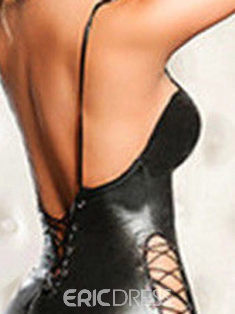 Ericdress Deep-V Backless Lace-Up Patent Leather Bodysuit