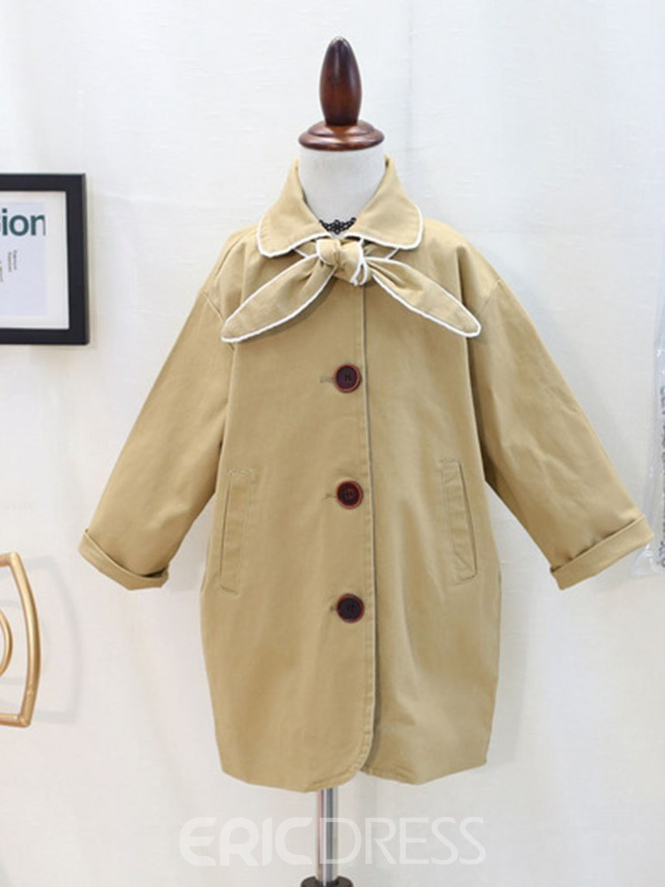 Ericdress Plain Lace Up Bowknot Girl's Casual Trench Coat