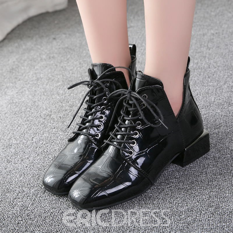 Ericdress Plain Square Toe Block Heel Ankle Boots