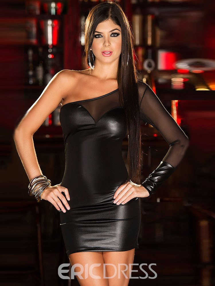 Ericdress Off-Shoulder Mesh Sexy Patent Leather Tight Short Dress