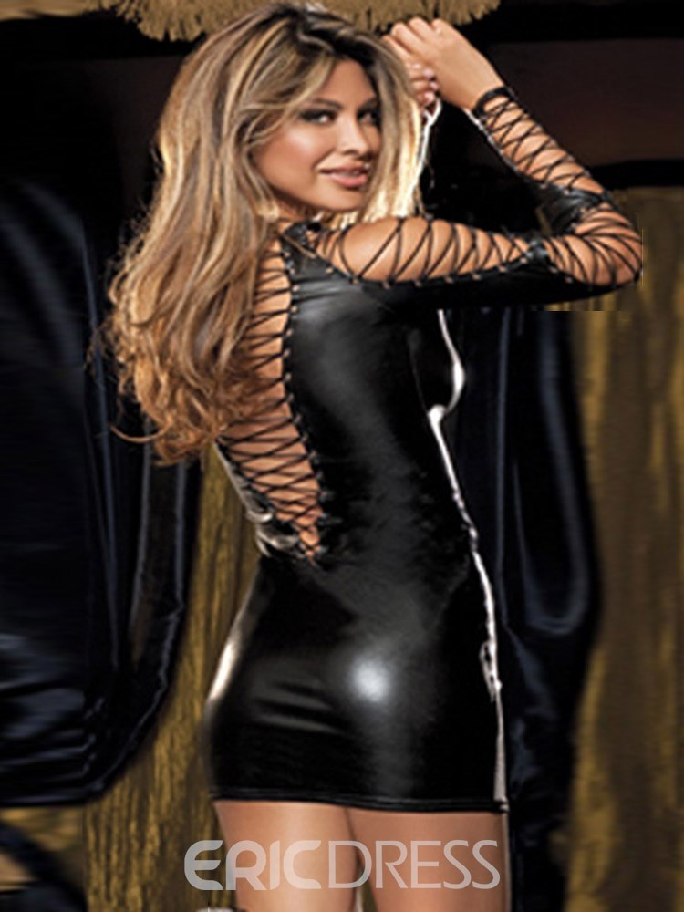 Ericdress Long Sleeve Bundle Sexy Patent Leather Tight Short Dress