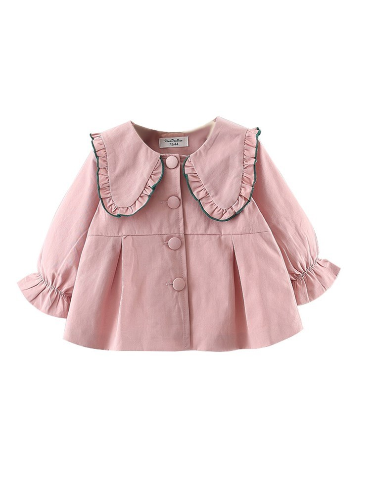 Ericdress Ruffles Pleated Peter Pan Collar Plain Baby Girl's Outerwears
