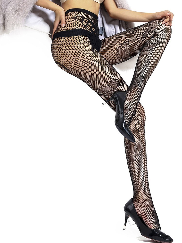 Ericdress Butterfly Jacquard Small Mesh Pantyhose Stocking