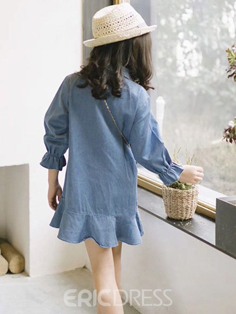 Ericdress Asymmetric Pleated Embroidery Flare Sleeve Girl's Casual Dress