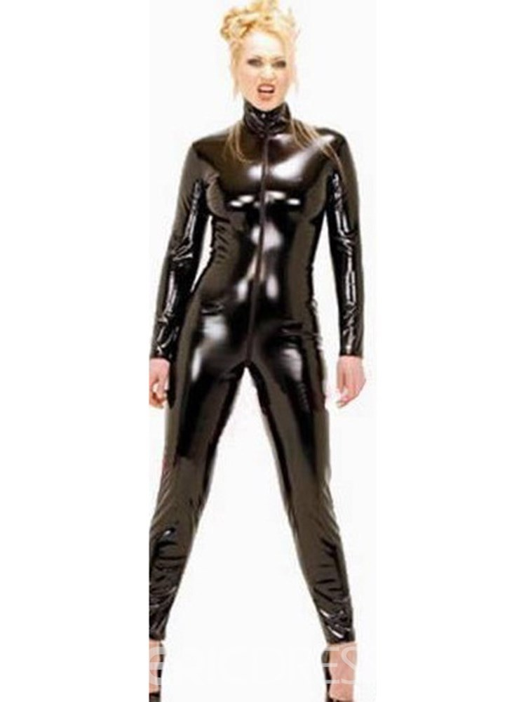 Ericdress Long Sleeve Plain Zipper Patent Leather Teddy
