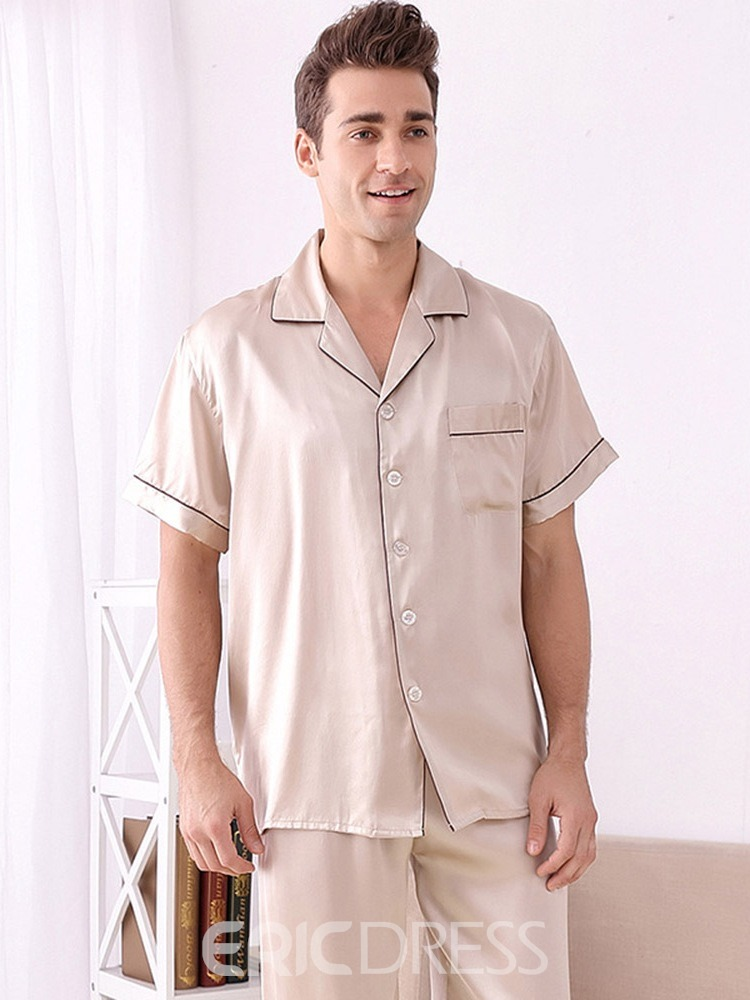 Ericdress Pocket Short Sleeve Plain Silk Single-Breasted Pajamas Sets