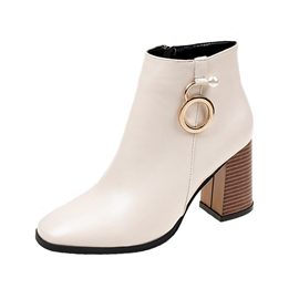 Ericdress Beads Square Toe Side Zipper Women's Ankle Boots