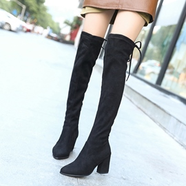 Ericdress Side Zipper Chunky Heel Knee High Boots